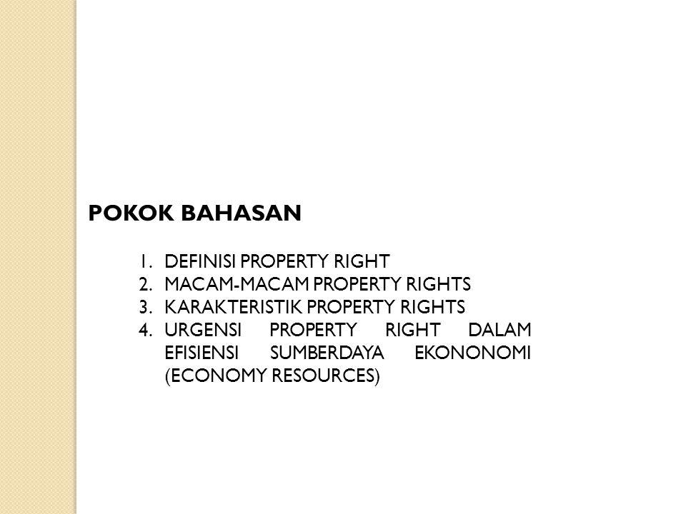 POKOK BAHASAN DEFINISI PROPERTY RIGHT MACAM-MACAM PROPERTY RIGHTS