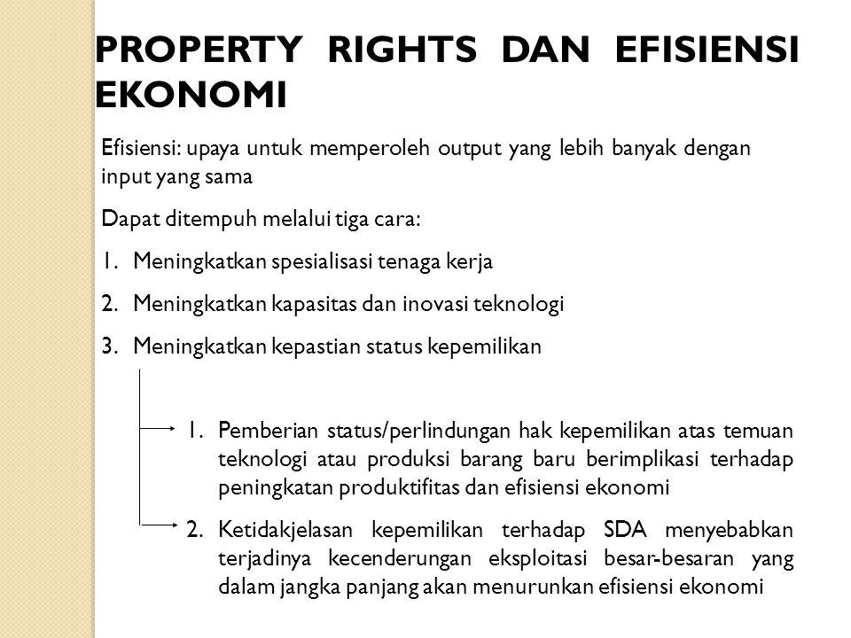 PROPERTY RIGHTS DAN EFISIENSI EKONOMI