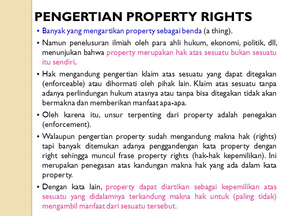 PENGERTIAN PROPERTY RIGHTS