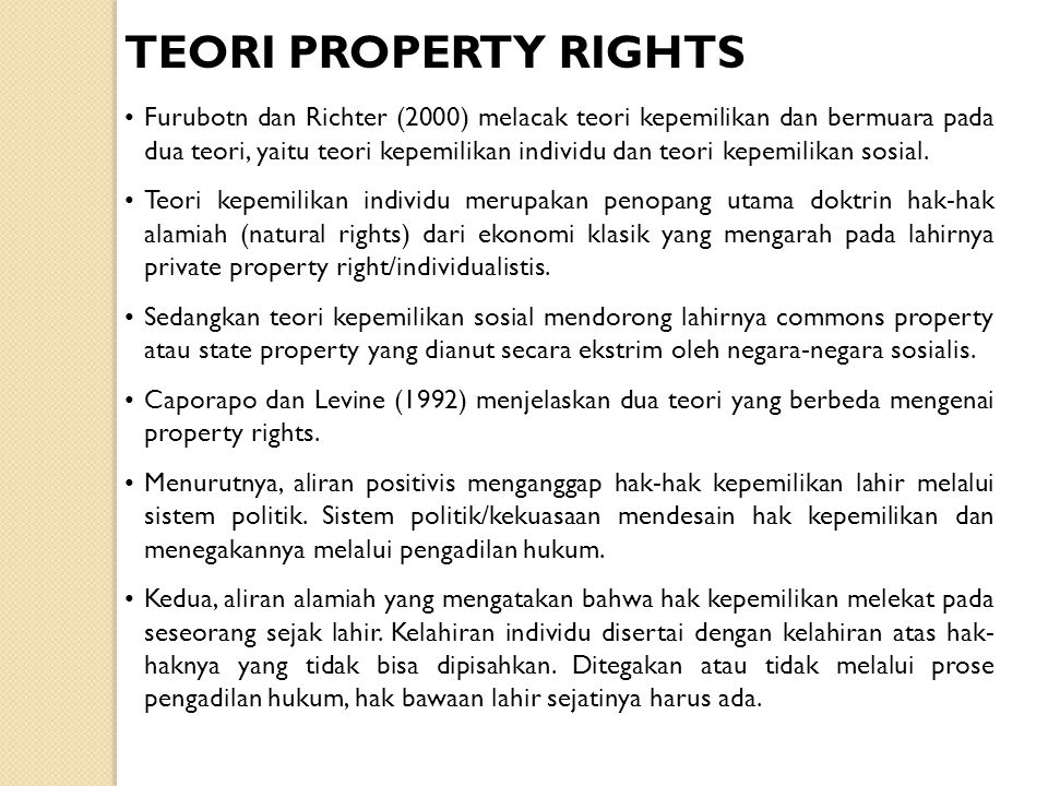 TEORI PROPERTY RIGHTS