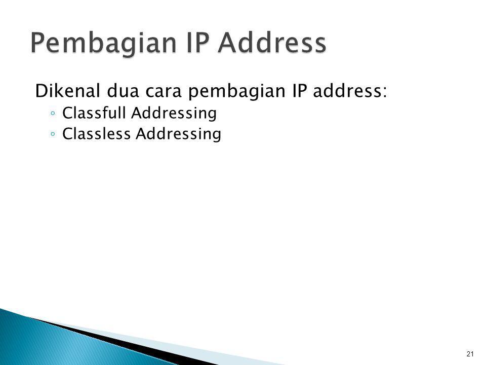 Pembagian IP Address Dikenal dua cara pembagian IP address: