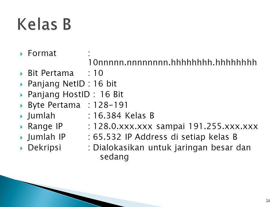 Kelas B Format : 10nnnnn.nnnnnnnn.hhhhhhhh.hhhhhhhh Bit Pertama : 10
