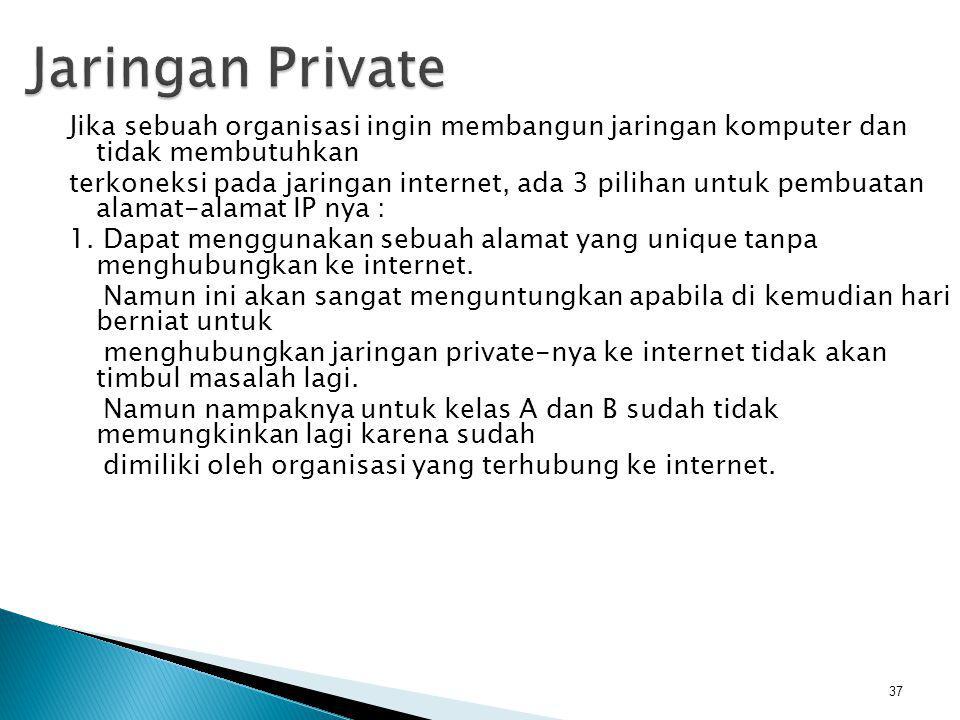 Jaringan Private Jika sebuah organisasi ingin membangun jaringan komputer dan tidak membutuhkan.