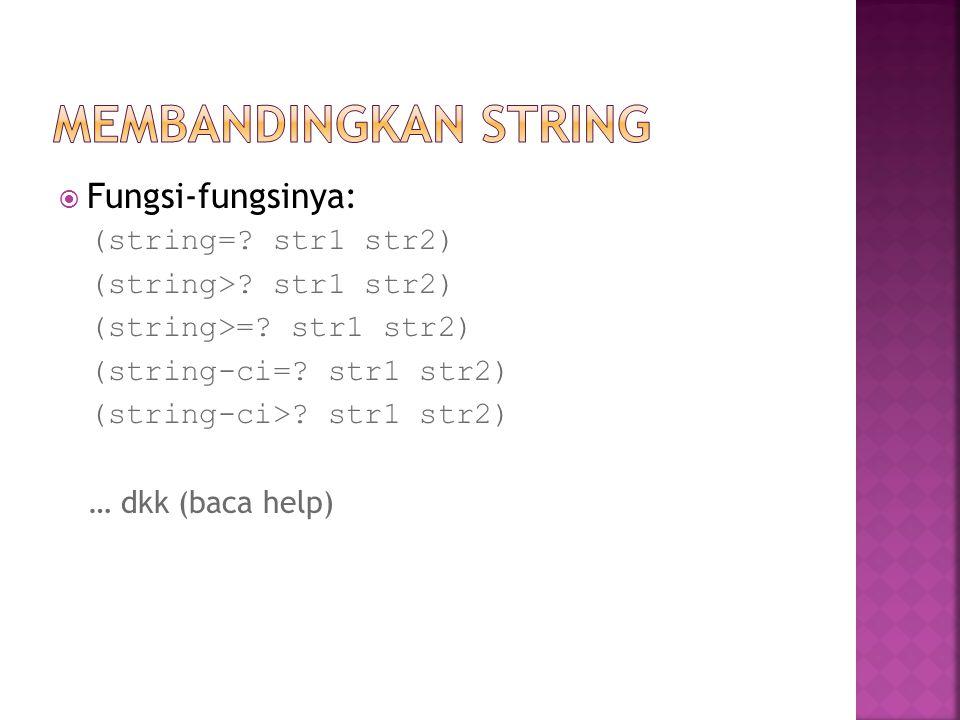 Membandingkan string Fungsi-fungsinya: (string= str1 str2)
