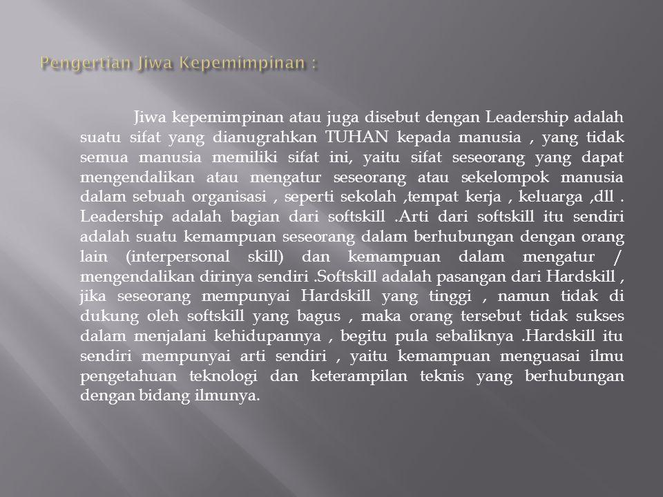 Pengertian Jiwa Kepemimpinan :