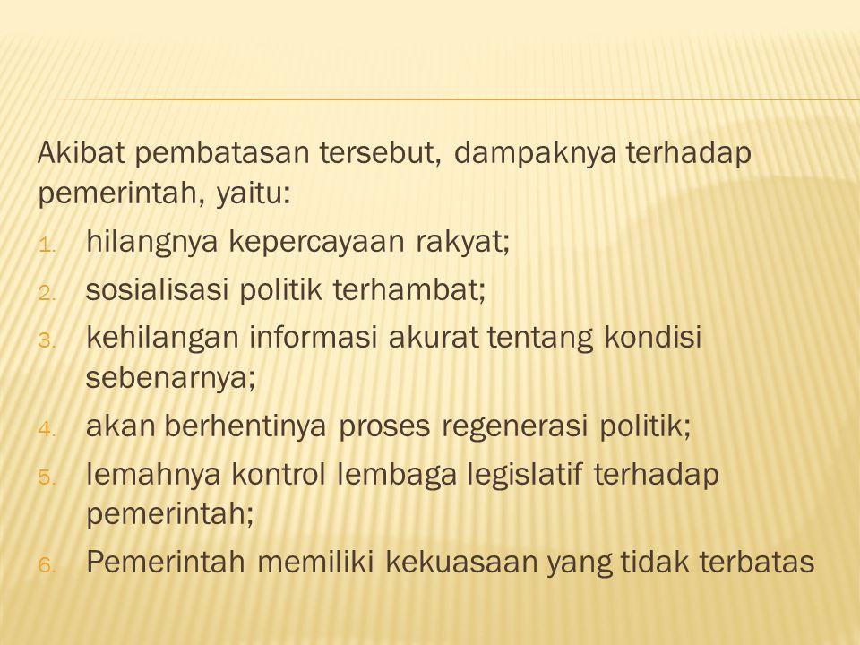 Akibat pembatasan tersebut, dampaknya terhadap pemerintah, yaitu: