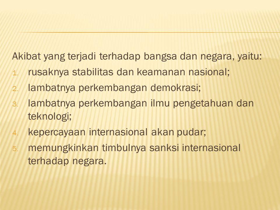 Akibat yang terjadi terhadap bangsa dan negara, yaitu: