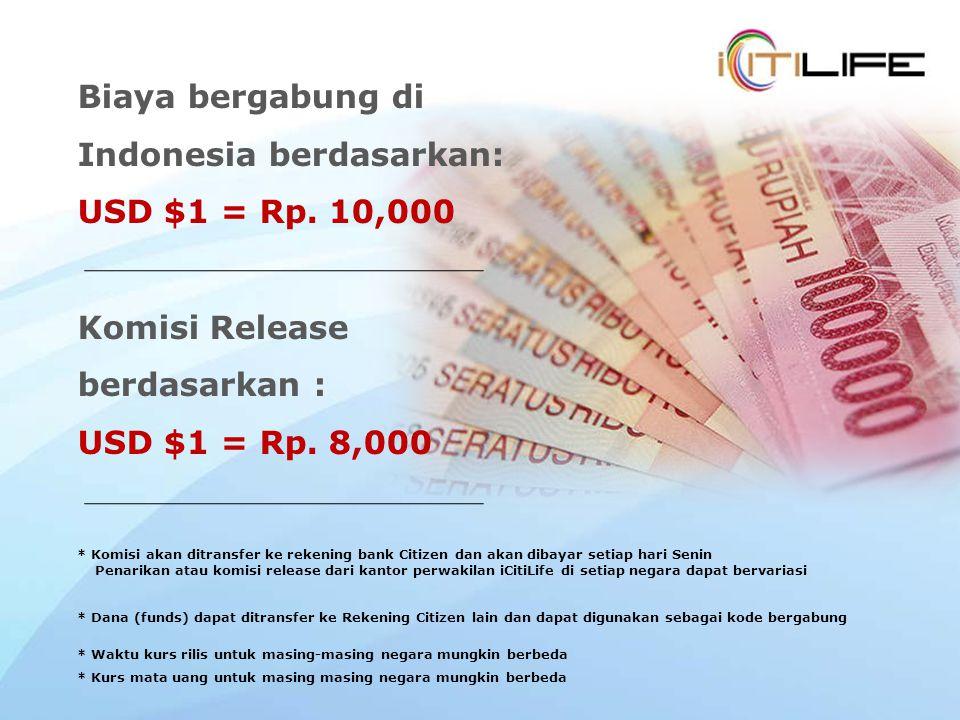 Biaya bergabung di Indonesia berdasarkan: