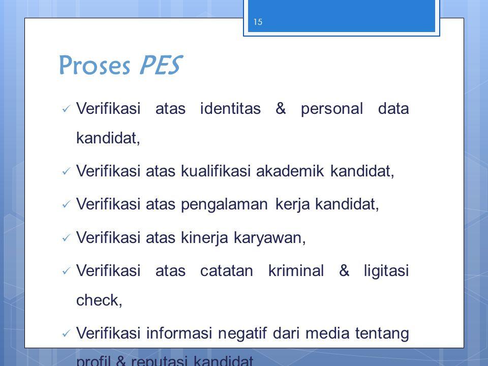 Proses PES Verifikasi atas identitas & personal data kandidat,
