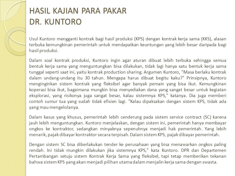 HASIL KAJIAN PARA PAKAR DR. KUNTORO