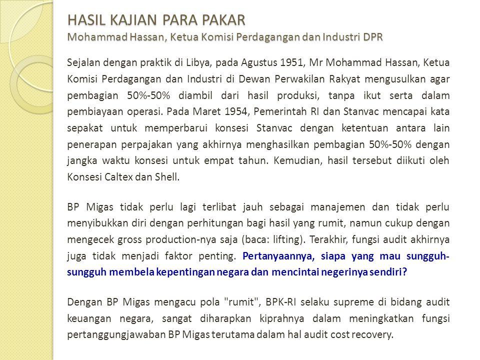 HASIL KAJIAN PARA PAKAR Mohammad Hassan, Ketua Komisi Perdagangan dan Industri DPR