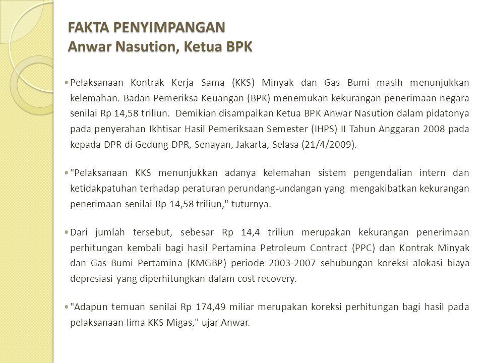 FAKTA PENYIMPANGAN Anwar Nasution, Ketua BPK
