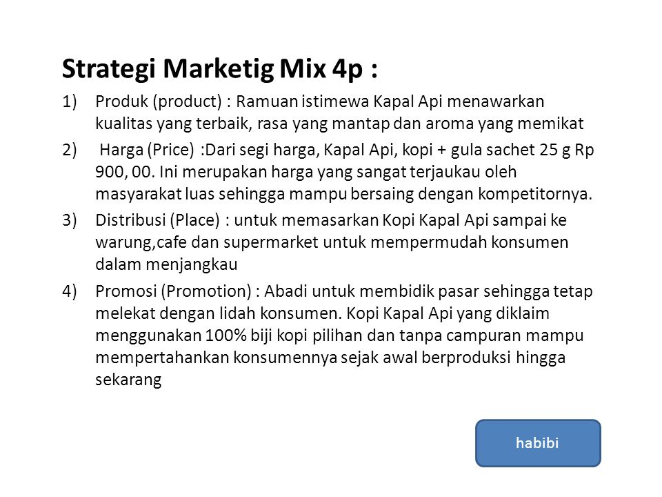 Strategi Marketig Mix 4p :