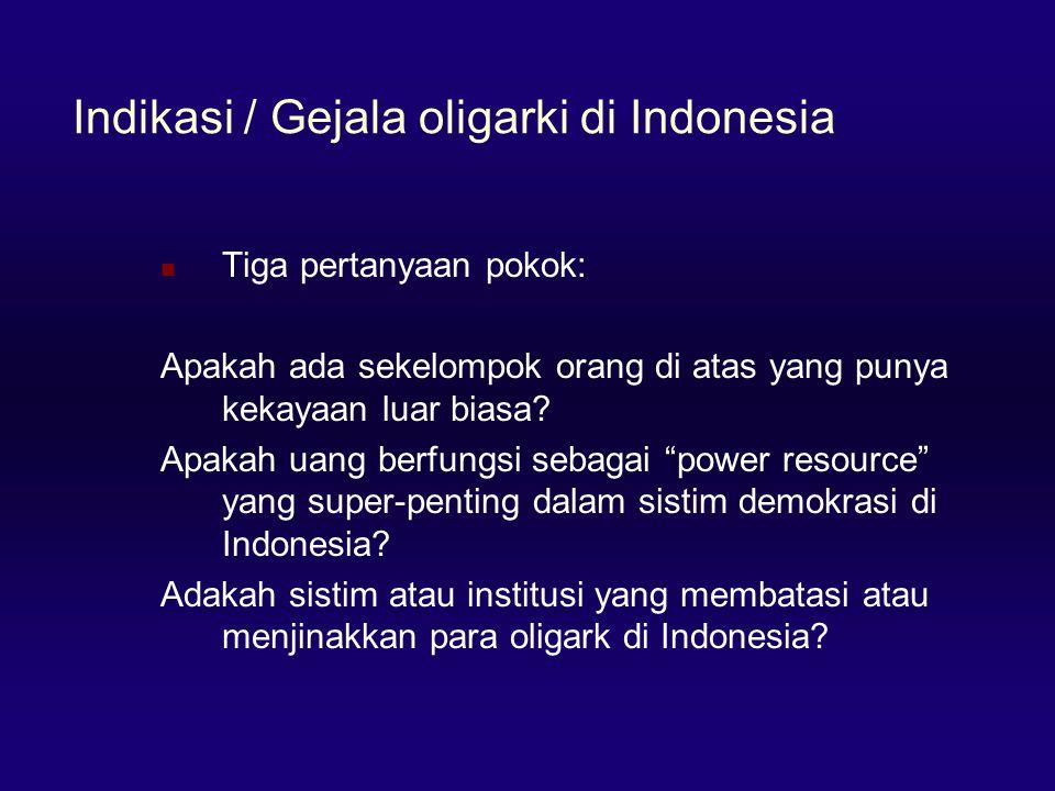 Indikasi / Gejala oligarki di Indonesia