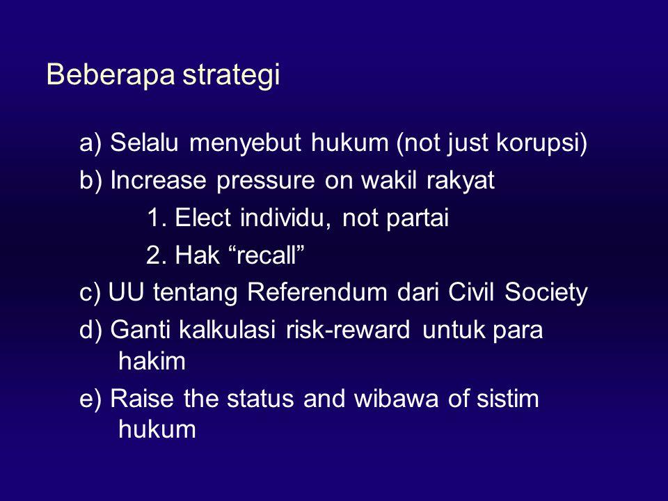 Beberapa strategi a) Selalu menyebut hukum (not just korupsi)