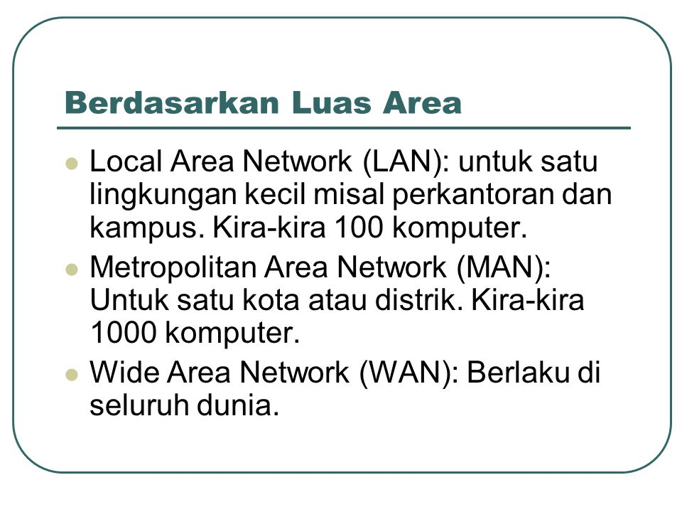 Berdasarkan Luas Area Local Area Network (LAN): untuk satu lingkungan kecil misal perkantoran dan kampus. Kira-kira 100 komputer.