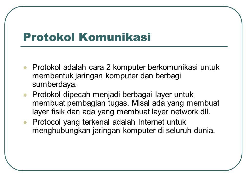 Protokol Komunikasi Protokol adalah cara 2 komputer berkomunikasi untuk membentuk jaringan komputer dan berbagi sumberdaya.