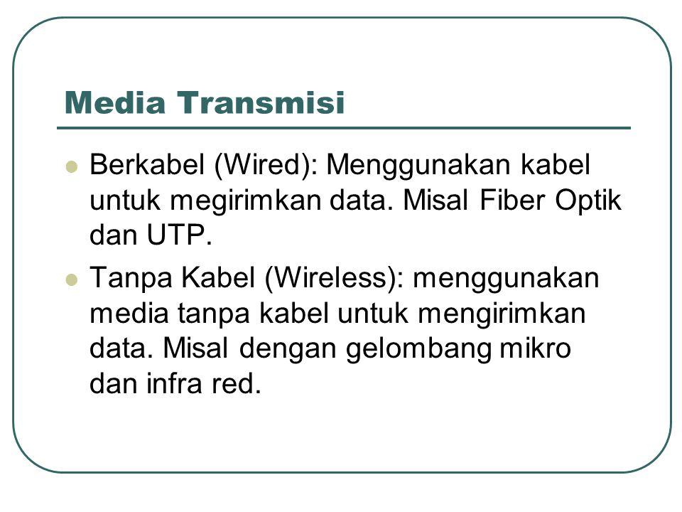 Media Transmisi Berkabel (Wired): Menggunakan kabel untuk megirimkan data. Misal Fiber Optik dan UTP.