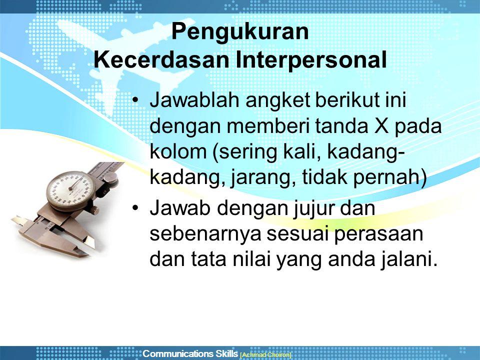 Pengukuran Kecerdasan Interpersonal