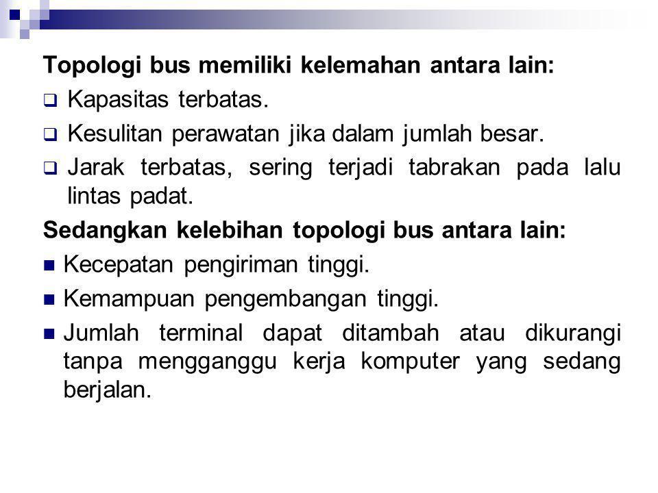 Topologi bus memiliki kelemahan antara lain: