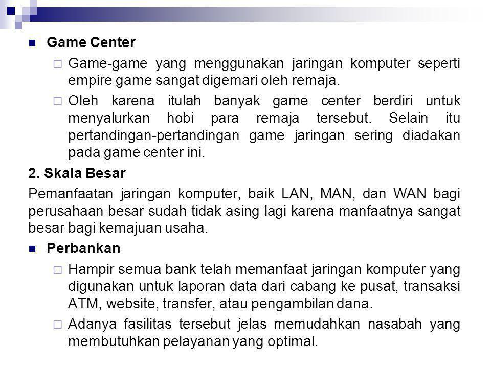 Game Center Game-game yang menggunakan jaringan komputer seperti empire game sangat digemari oleh remaja.