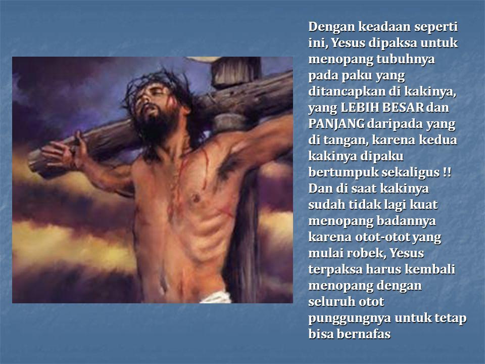 Dengan keadaan seperti ini, Yesus dipaksa untuk menopang tubuhnya pada paku yang ditancapkan di kakinya, yang LEBIH BESAR dan PANJANG daripada yang di tangan, karena kedua kakinya dipaku bertumpuk sekaligus !.