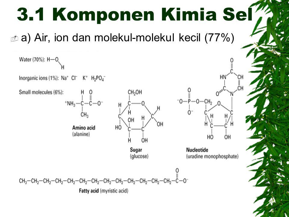 3.1 Komponen Kimia Sel a) Air, ion dan molekul-molekul kecil (77%)
