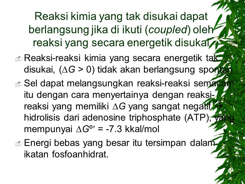 Reaksi kimia yang tak disukai dapat berlangsung jika di ikuti (coupled) oleh reaksi yang secara energetik disukai