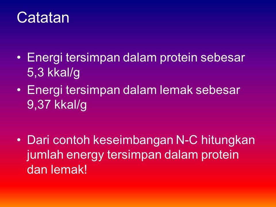 Catatan Energi tersimpan dalam protein sebesar 5,3 kkal/g