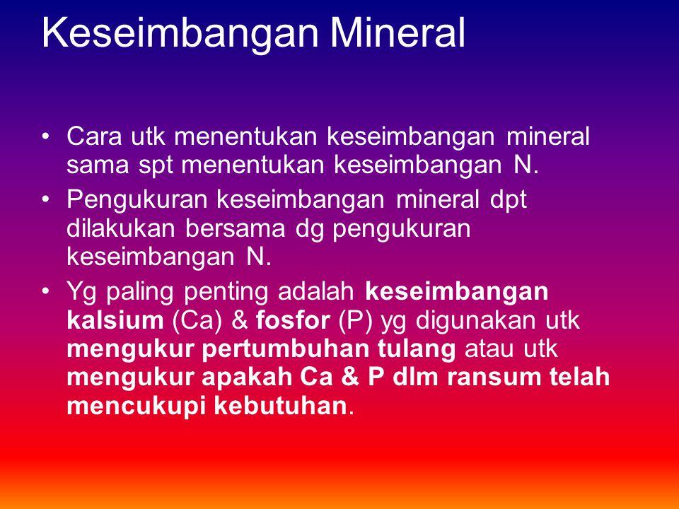 Keseimbangan Mineral Cara utk menentukan keseimbangan mineral sama spt menentukan keseimbangan N.