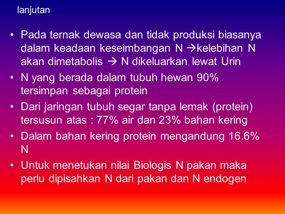 N yang berada dalam tubuh hewan 90% tersimpan sebagai protein