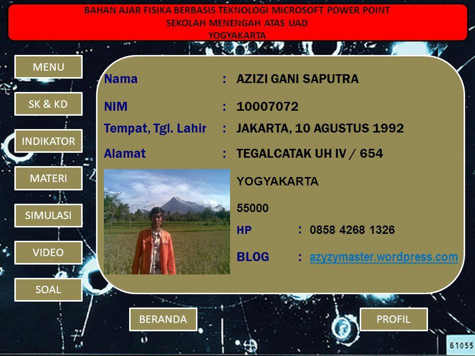 Nama : AZIZI GANI SAPUTRA NIM 10007072 Tempat, Tgl. Lahir