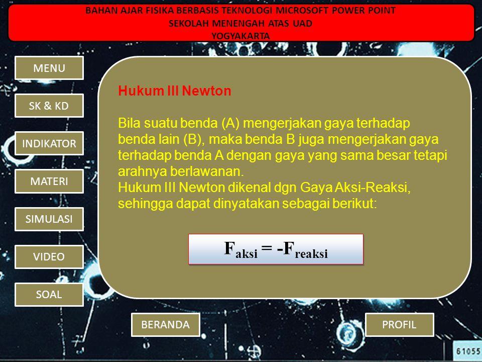 Faksi = -Freaksi Hukum III Newton