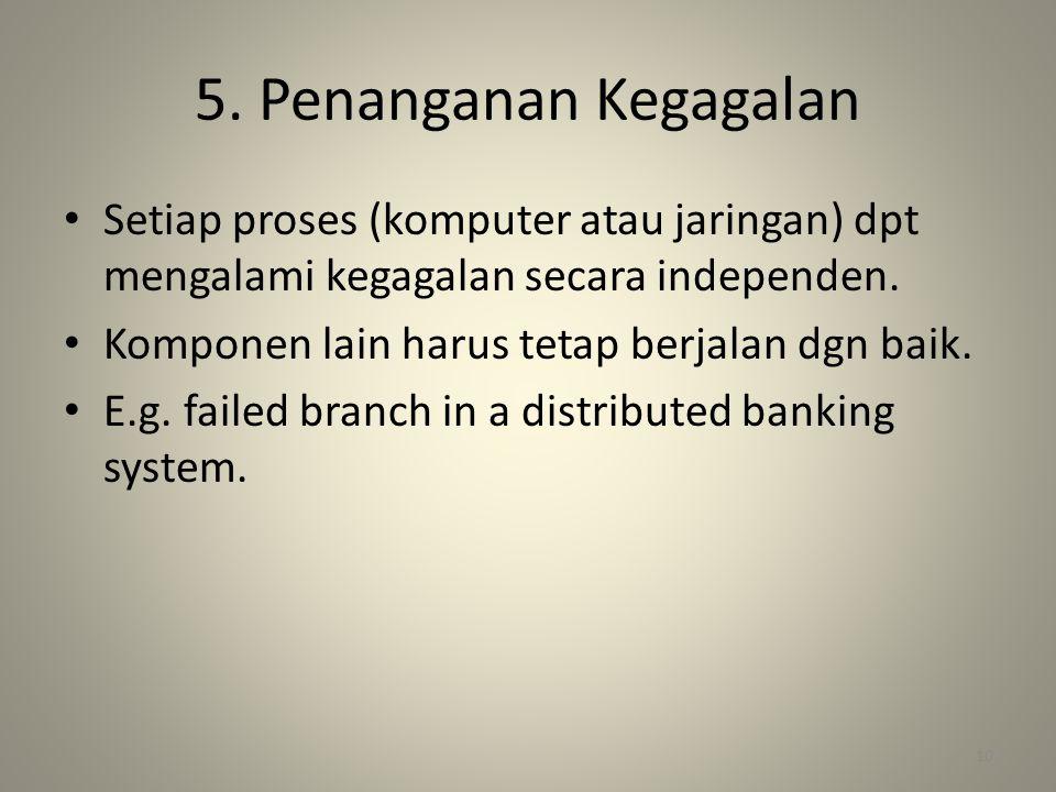 5. Penanganan Kegagalan Setiap proses (komputer atau jaringan) dpt mengalami kegagalan secara independen.