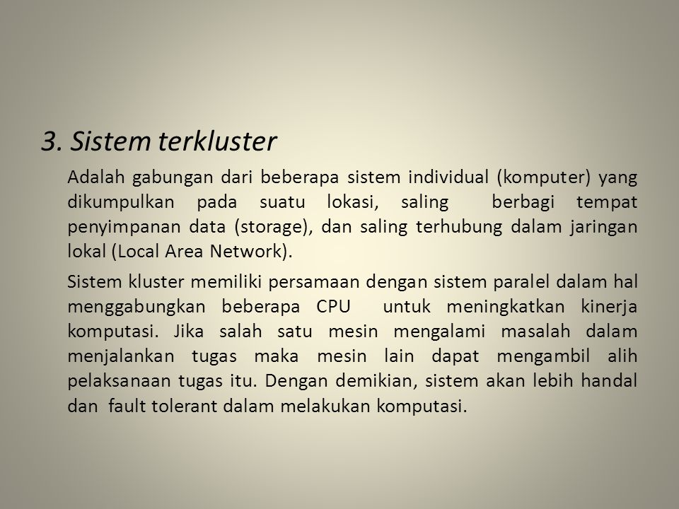 3. Sistem terkluster