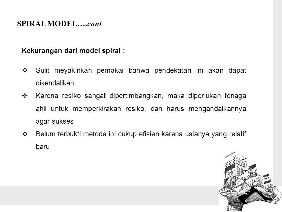SPIRAL MODEL….cont Kekurangan dari model spiral :