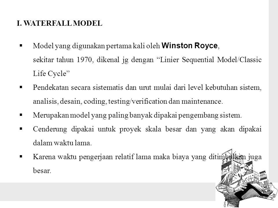 I. WATERFALL MODEL Model yang digunakan pertama kali oleh Winston Royce,