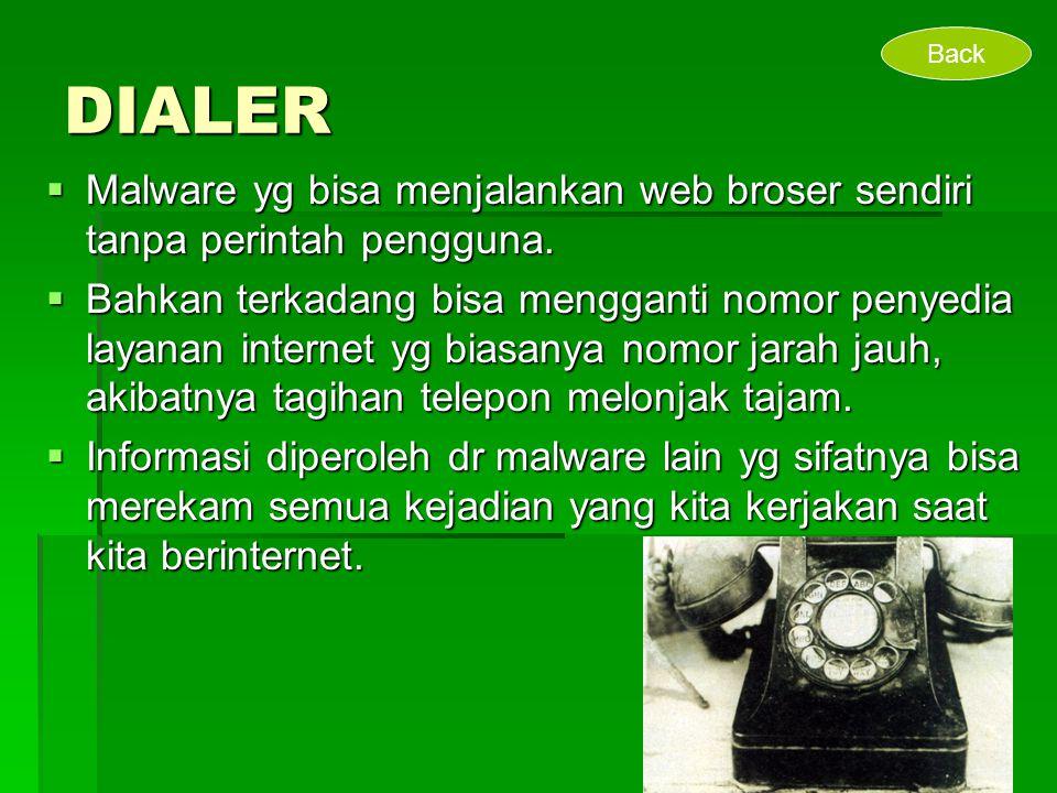 DIALER Back. Malware yg bisa menjalankan web broser sendiri tanpa perintah pengguna.