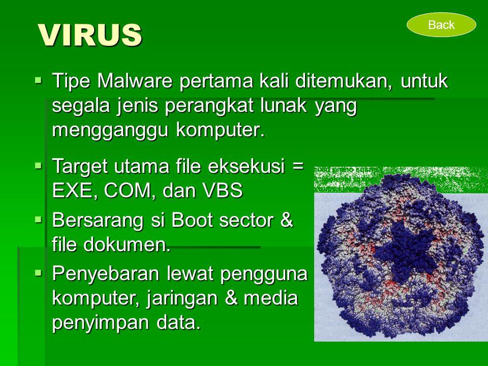 VIRUS Back. Tipe Malware pertama kali ditemukan, untuk segala jenis perangkat lunak yang mengganggu komputer.