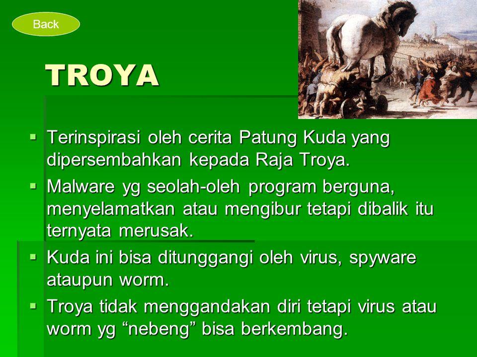 Back TROYA. Terinspirasi oleh cerita Patung Kuda yang dipersembahkan kepada Raja Troya.