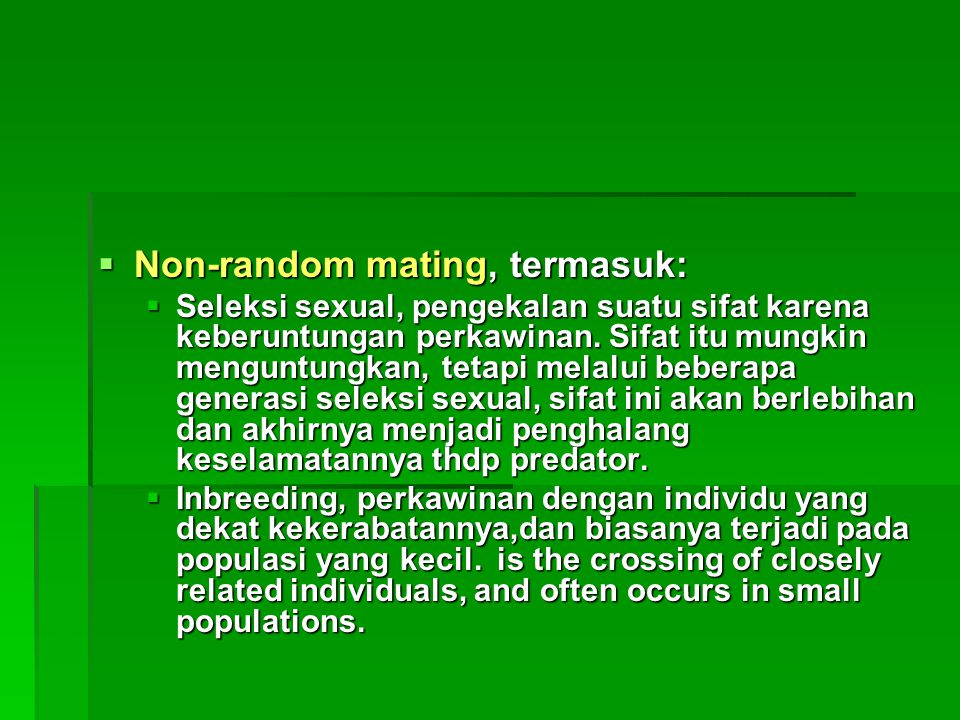 Non-random mating, termasuk: