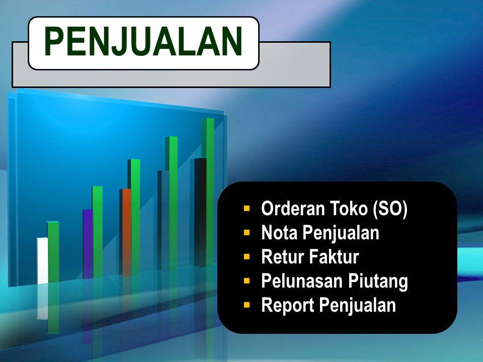 PENJUALAN Orderan Toko (SO) Nota Penjualan Retur Faktur
