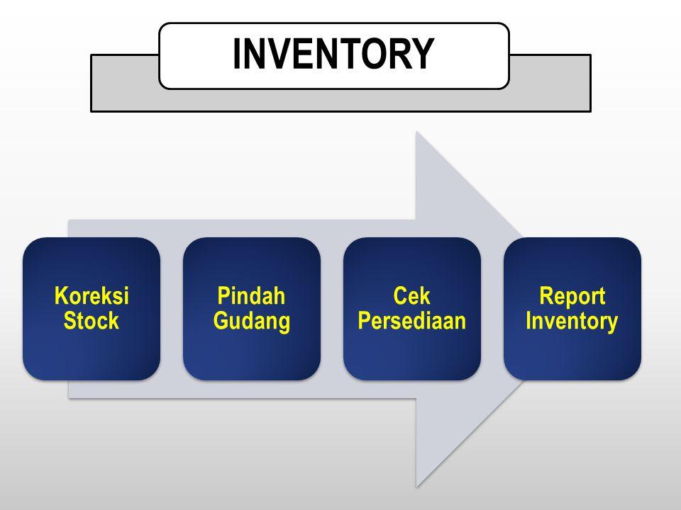 INVENTORY Koreksi Stock Pindah Gudang Cek Persediaan Report Inventory