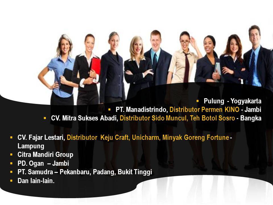 Pulung - Yogyakarta PT. Manadistrindo, Distributor Permen KINO - Jambi. CV. Mitra Sukses Abadi, Distributor Sido Muncul, Teh Botol Sosro - Bangka.