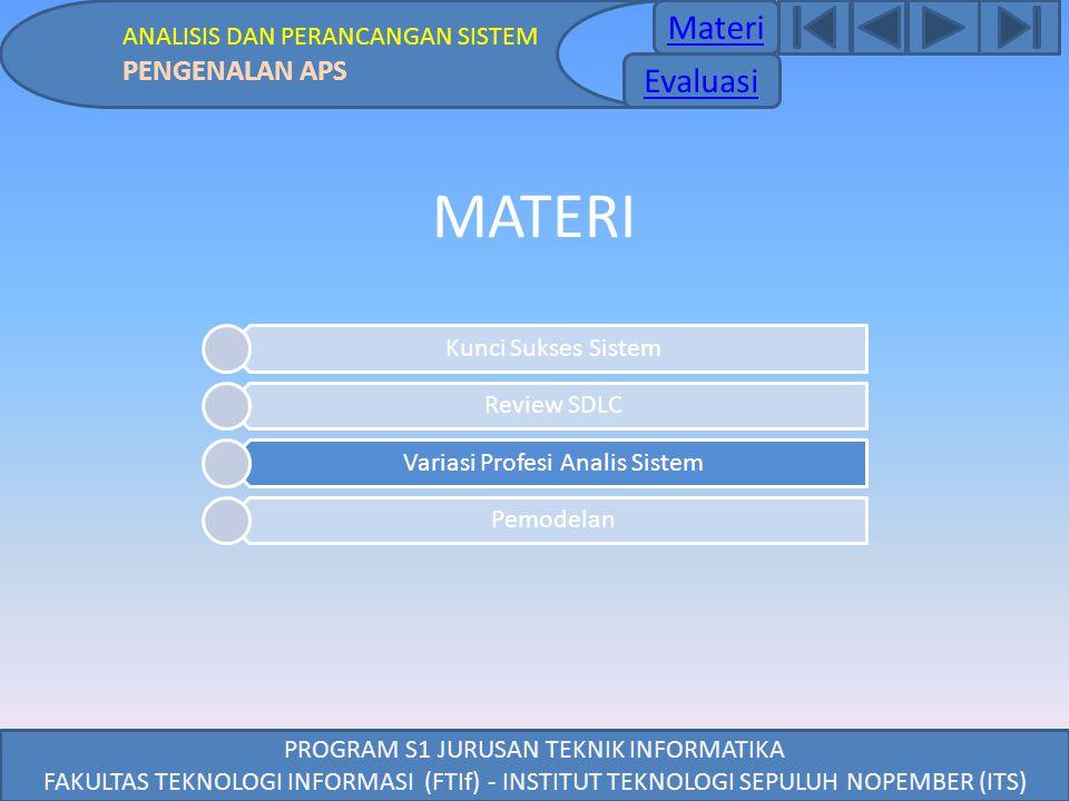 MATERI Materi Materi Evaluasi PENGENALAN APS