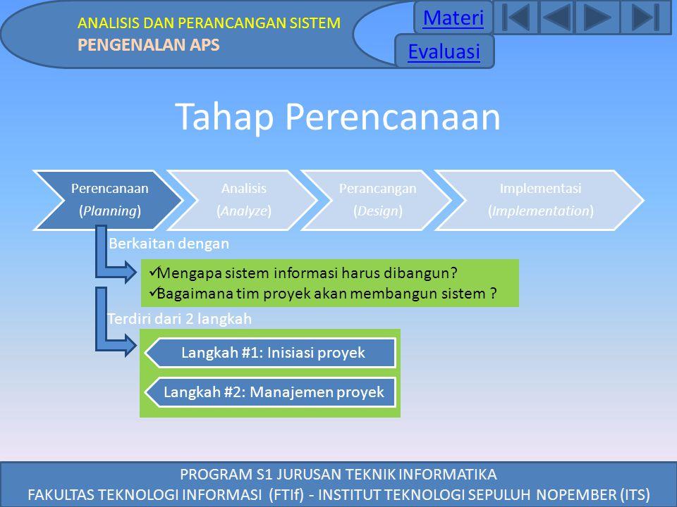 Tahap Perencanaan Materi Evaluasi PENGENALAN APS
