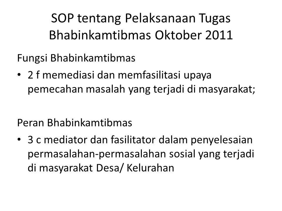 SOP tentang Pelaksanaan Tugas Bhabinkamtibmas Oktober 2011