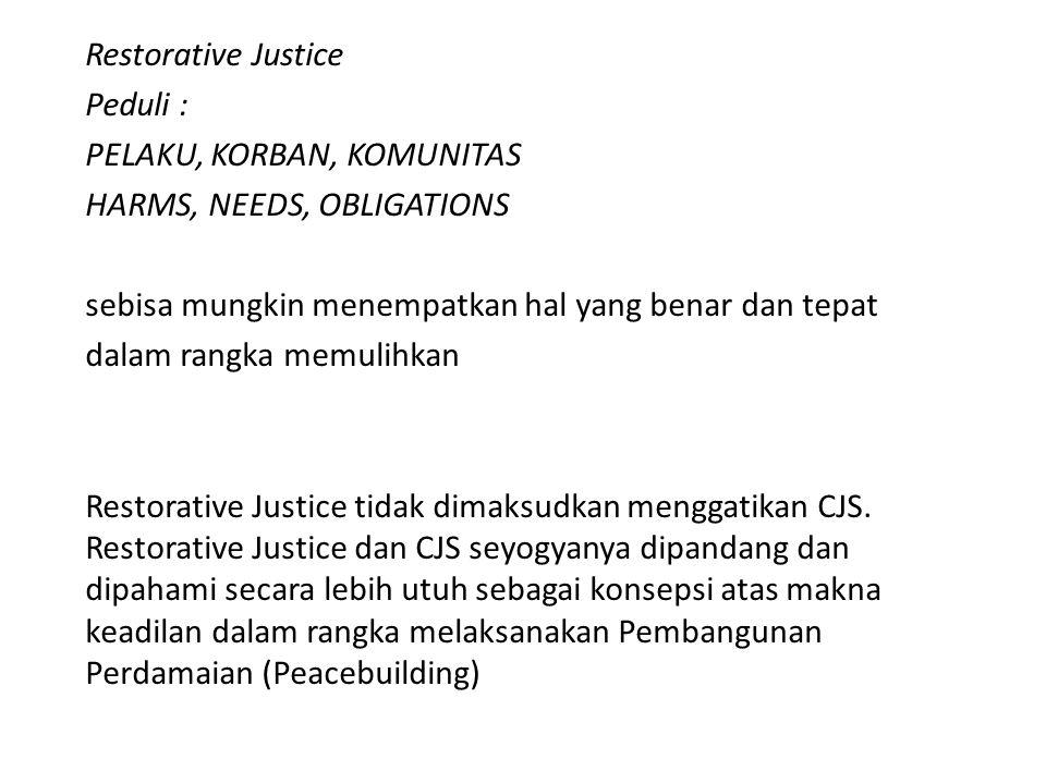 Restorative Justice Peduli : PELAKU, KORBAN, KOMUNITAS. HARMS, NEEDS, OBLIGATIONS. sebisa mungkin menempatkan hal yang benar dan tepat.