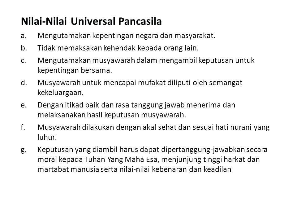 Nilai-Nilai Universal Pancasila