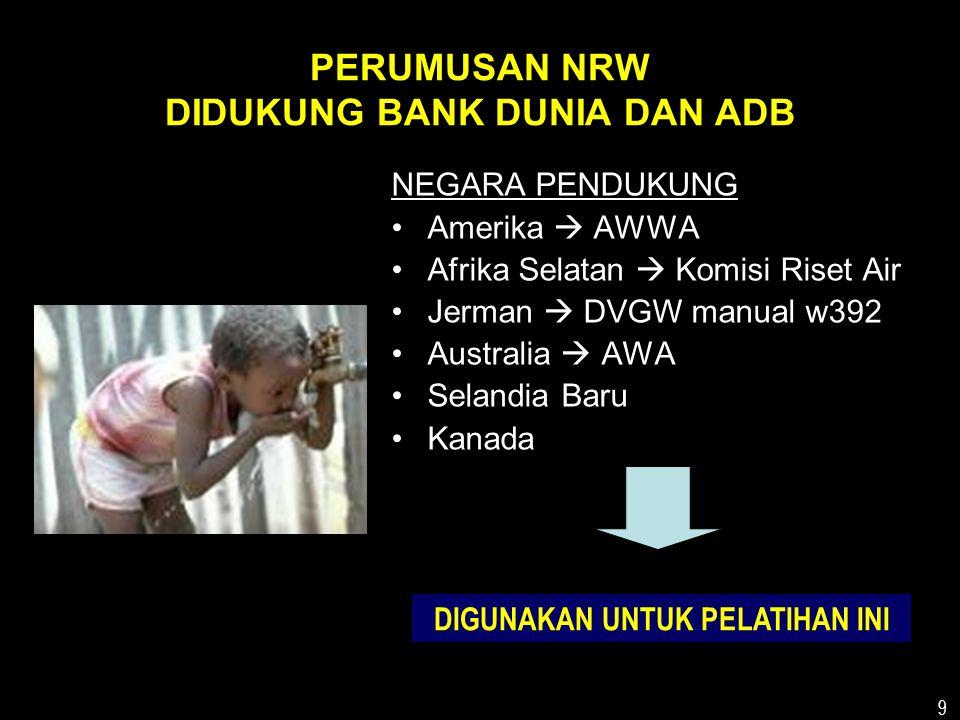 PERUMUSAN NRW DIDUKUNG BANK DUNIA DAN ADB
